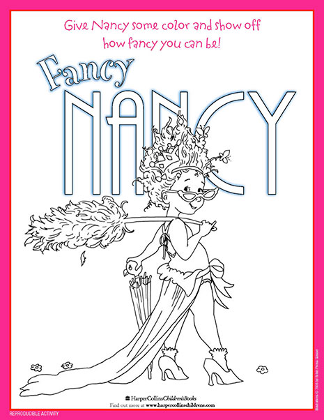 a colorful fancy nancy printable coloring sheet