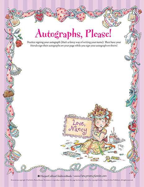 Autographs Please Printable Coloring Sheet Fancy Nancy